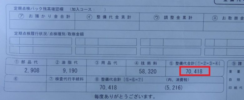 修理費用の明細書の合計欄
